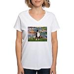 Lilies2-Tri Aussie Shep2 Women's V-Neck T-Shirt