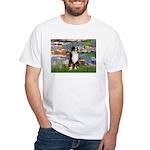 Lilies2-Tri Aussie Shep2 White T-Shirt