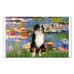 Lilies2-Tri Aussie Shep2 Sticker (Rectangle)