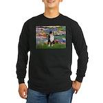Lilies2-Tri Aussie Shep2 Long Sleeve Dark T-Shirt
