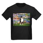 Lilies2-Tri Aussie Shep2 Kids Dark T-Shirt