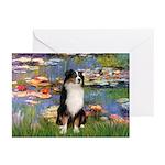 Lilies2-Tri Aussie Shep2 Greeting Cards (Pk of 10)
