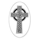 Celtic Knotwork Cross Oval  Aufkleber