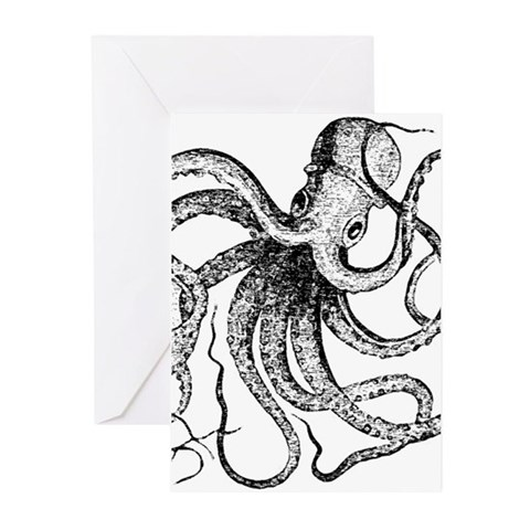Black and White Vintage Octopus Greeting Cards