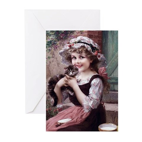 9 Vernon Girl With Kitten Greeting Cards