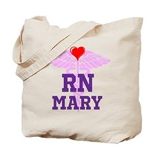 RN Pink Caduceus with purple letters Tote Bag