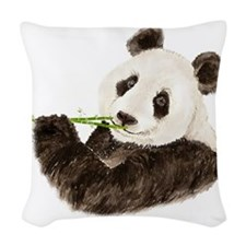 Watercolor Panda Asian Bear Woven Throw Pillow