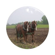 Plowing the Field Ornament (Round)