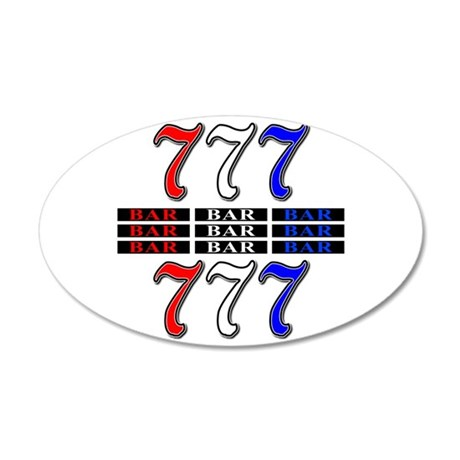 Red, White and Blue Slots 20x12 Oval Wall Decal