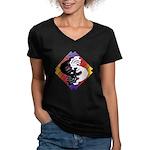 Kokopelli Yin Yang Women's V-Neck Dark T-Shirt