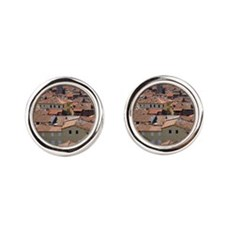 Appennini mountains in the far bac Round Cufflinks