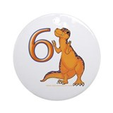 Kids Dino 6th Birthday Gifts Ornament (Round)