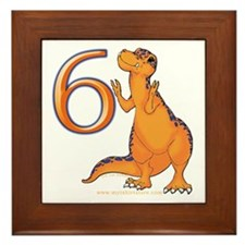 Kids Dino 6th Birthday Gifts Framed Tile