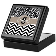 Black Beige Damask Chevron Personalized Keepsake B