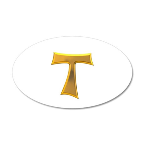 Golden Franciscan Tau Cross 35x21 Oval Wall Decal