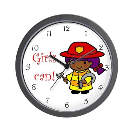 Girl Firefighter Wall Clock