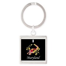 Funny Blue crab Square Keychain