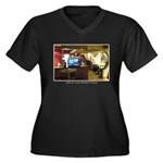 Coffee Bar at Dusk Women's Plus Size V-Neck Dark T