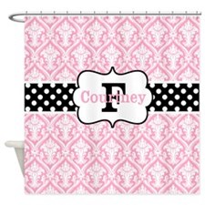 Pink Black Damask Dots Personalized Shower Curtain