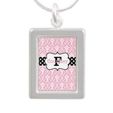 Pink Black Damask Dots Personalized Necklaces