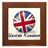 United Kingdom Flag Soccer Ball Framed Tile