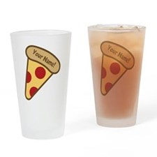 YOUR NAME Cute Pizza Drinking Glass