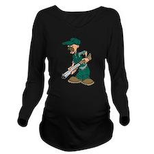 Cartoon Hunter Long Sleeve Maternity T-Shirt