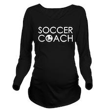 Soccer Coach Long Sleeve Maternity T-Shirt