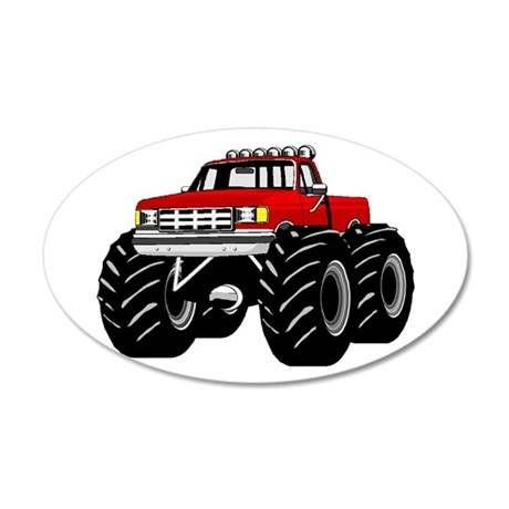 Red MONSTER Truck 20x12 Oval Wall Decal
