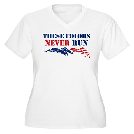 Colors Never Run Women's Plus Size V-Neck T-Shirt