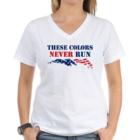 Colors Never Run Women's V-Neck T-Shirt