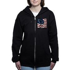 Wavy Betsy Ross Flag Women's Zip Hoodie