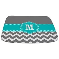 Gray Teal Chevron Personalized Bathmat
