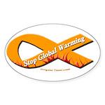 Stop Global Warming Orange Ribbon Sticker