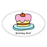 Birthday Girl Cupcake Oval Sticker