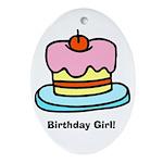 Birthday Girl Cupcake Oval Ornament