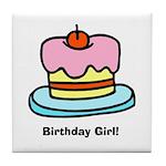 Birthday Girl Cupcake Tile Coaster