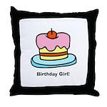 Birthday Girl Cupcake Throw Pillow