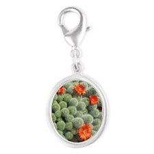 Cactus Flowers Silver Oval Charm