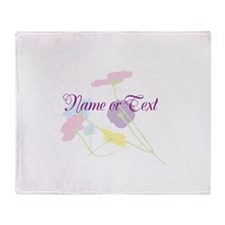 delicate flowers-FREE TEXT Throw Blanket