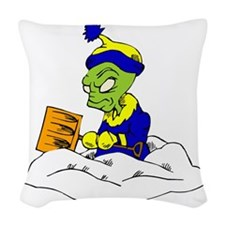 Snow Shovelling Alien Woven Throw Pillow