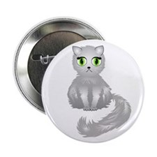"Gray Kitty Cat 2.25"" Button (100 pack)"
