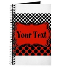 Red Black Polka Dot Personalizable Journal