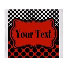 Red Black Polka Dot Personalizable Throw Blanket