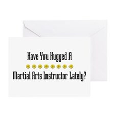 Hugged Martial Arts Instructor Greeting Cards (Pac