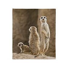 Meerkat Family Throw Blanket