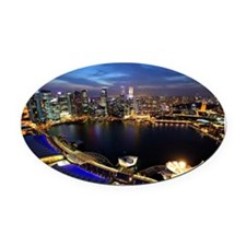 Singapore city skyline at night Oval Car Magnet