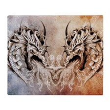 Tattoo art, fantasy medieval dragons Throw Blanket