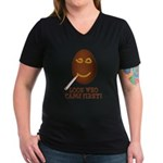 Come First with this Women's V-Neck Dark T-Shirt