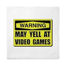 Warning Yell At Video Games Queen Duvet